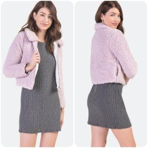 Francesca's Blush Max Cropped Sherpa Jacket Large